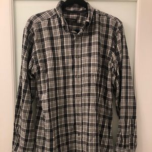 Canali Men's Slim Fit Checked Cotton Flannel Shirt